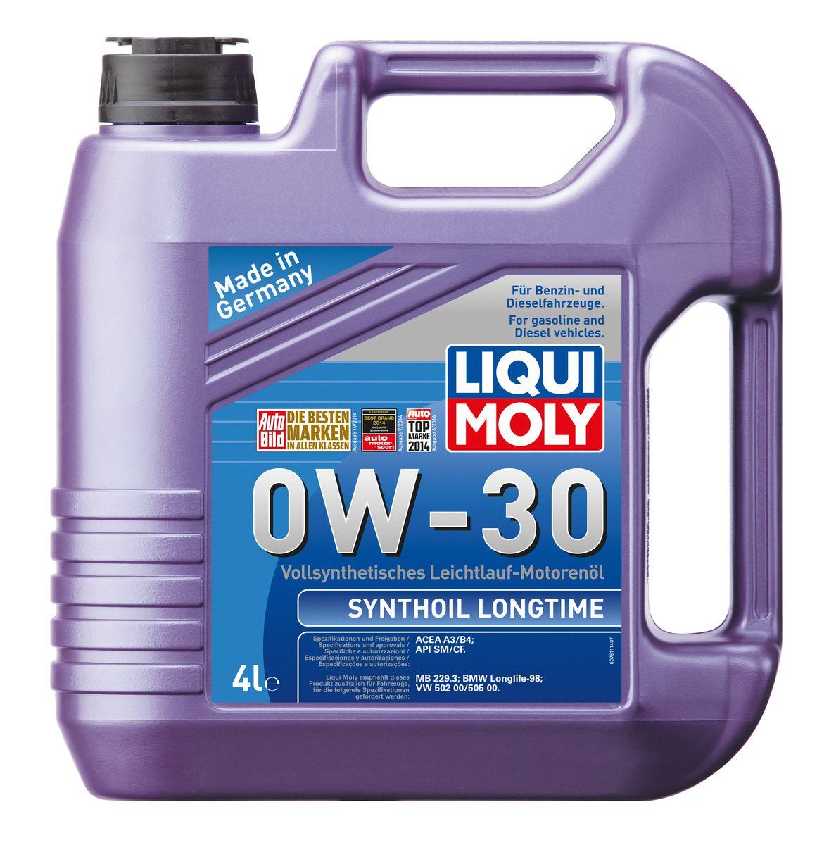 Масло моторное Liqui Moly Synthoil Longtime, синтетическое, 0W-30, 4 л liqui moly synthoil longtime plus 0w 30 5л