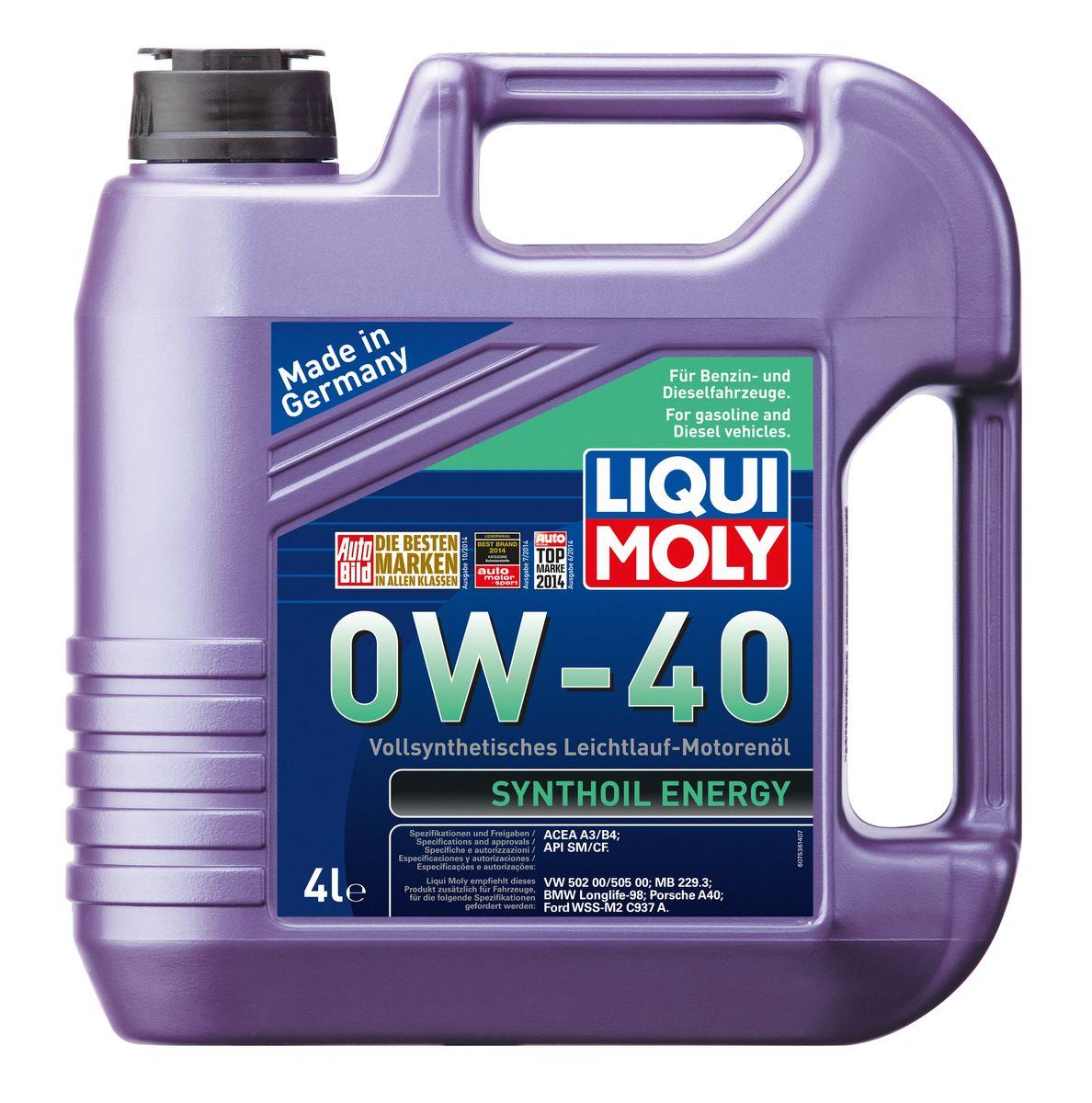 """Масло моторное Liqui Moly """"Synthoil Energy"""", синтетическое, 0W-40, 4 л"""