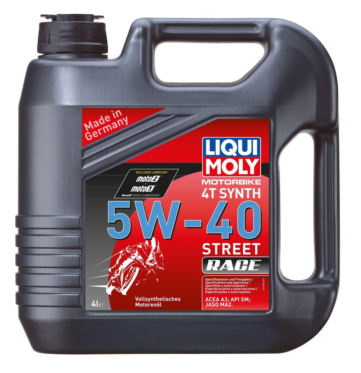 цена на Масло моторное Liqui Moly Motorbike 4T Synth Street Race, синтетическое, 5W-40, 4 л