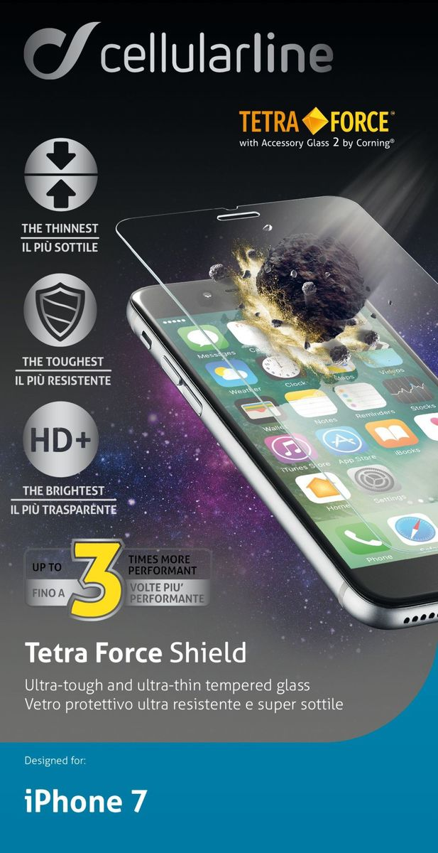 Cellular Line Tetra Force защитное стекло для iPhone 7/8, ультрапрочное цена 2017