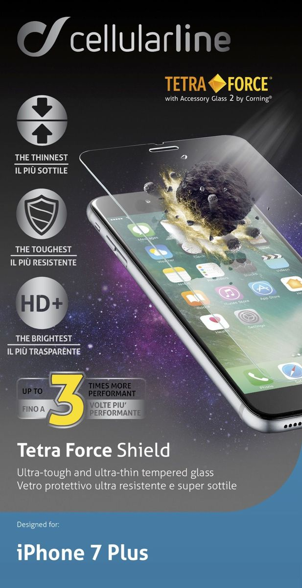 Cellular Line защитное стекло для iPhone 7 Plus/8 Plus, ультрапрочное защитное стекло для iphone 6 6s cellular line tempglassiph647s transparent