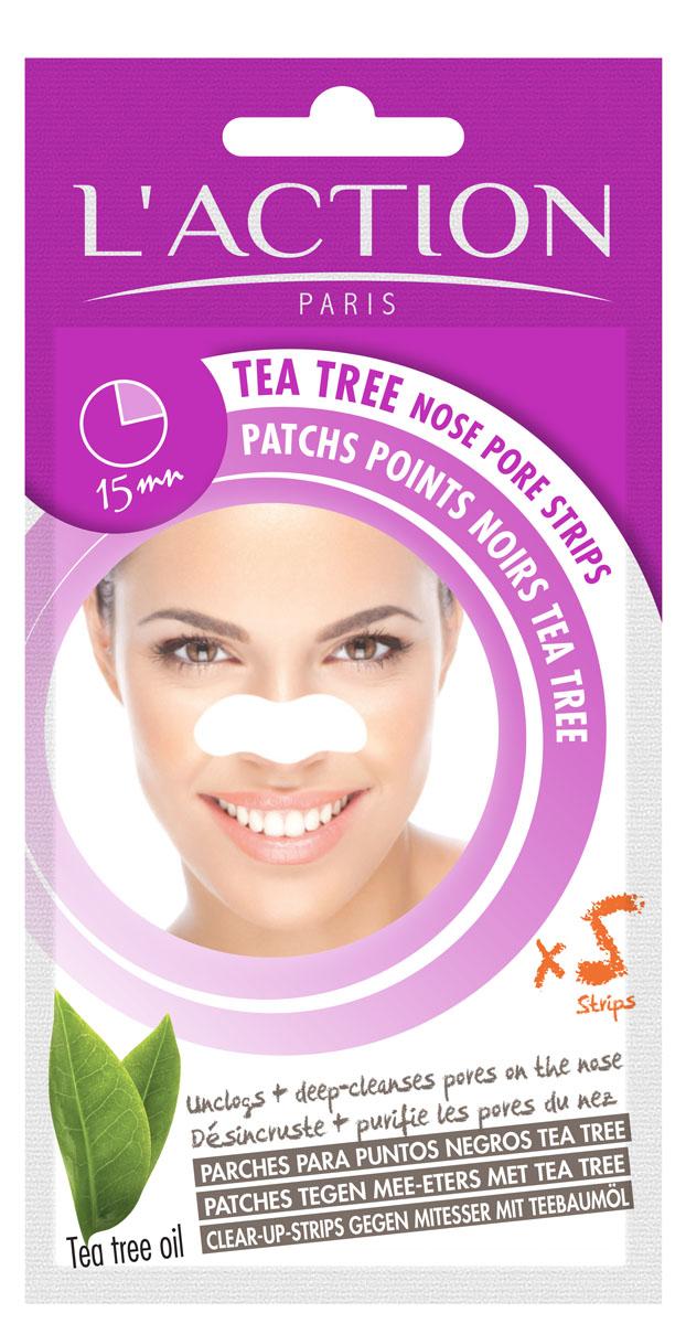 L'action Полоски для очищения пор в области носа с экстрактом чайного дерева, 5 шт.
