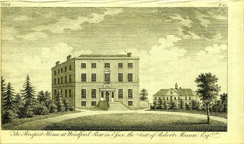 Англия. Особняк Роберта Моксама у Вудфорд Роу в Эссексе. Резцовая гравюра. Англия, Лондон, 1776 год англия гансбери хаус резиденция принцессы амелии резцовая гравюра англия лондон 1776 год