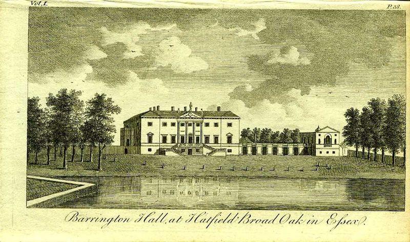 Англия. Баррингтон Холл у деревни Хатфилд Броад Оук в Эссексе. Резцовая гравюра. Англия, Лондон, 1776 год англия гансбери хаус резиденция принцессы амелии резцовая гравюра англия лондон 1776 год