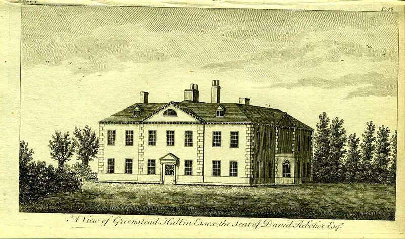 Англия. Гринстед Холл в Эссексе, особняк Дэвида Реботье. Резцовая гравюра. Англия, Лондон, 1776 год англия гансбери хаус резиденция принцессы амелии резцовая гравюра англия лондон 1776 год