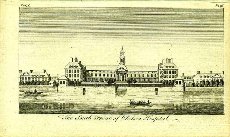 Англия. Королевский военный госпиталь в Челси. Южный фасад. Резцовая гравюра. Англия, Лондон, 1776 год англия гансбери хаус резиденция принцессы амелии резцовая гравюра англия лондон 1776 год