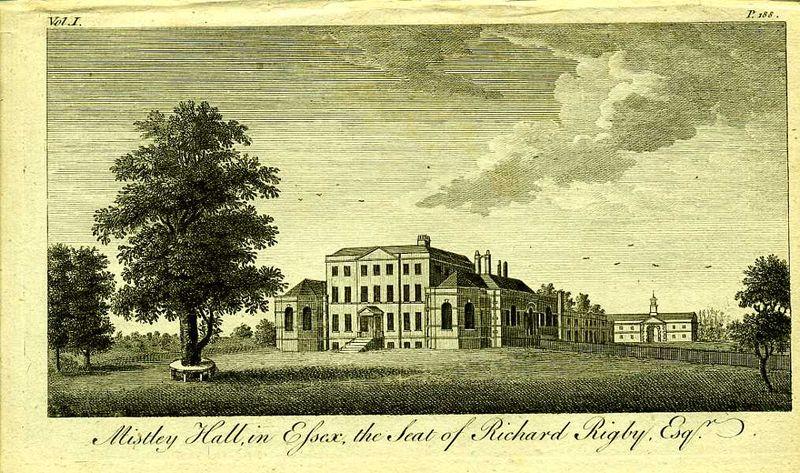 Англия. Мистли Холл, поместье Ричарда Ригби, Эссекс. Резцовая гравюра. Англия, Лондон, 1776 год англия гансбери хаус резиденция принцессы амелии резцовая гравюра англия лондон 1776 год