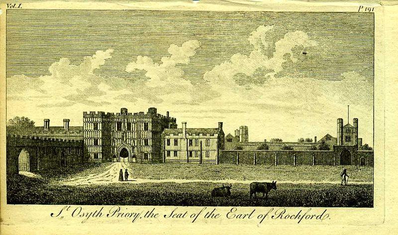 Англия. Монастырь Сент-Осит, резиденция графа Рошфора. Резцовая гравюра. Англия, Лондон, 1776 год англия гансбери хаус резиденция принцессы амелии резцовая гравюра англия лондон 1776 год