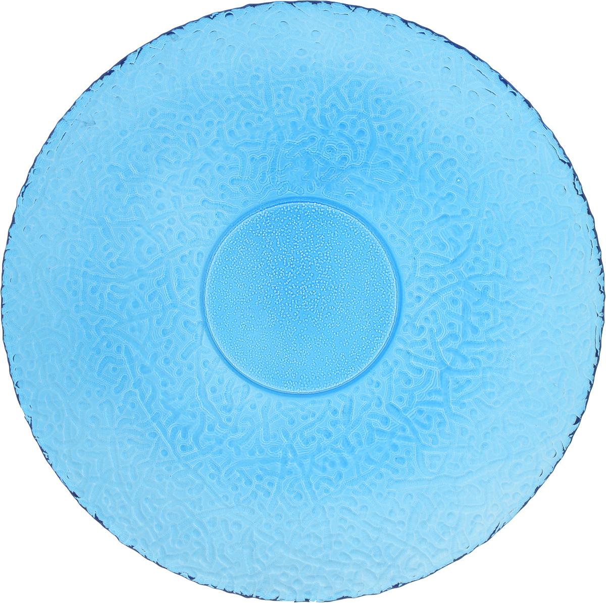 Тарелка NiNaGlass Ажур, цвет: синий, диаметр 26 см