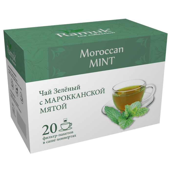 Ramuk чай зеленый с марокканской мятой в пакетиках, 20 шт