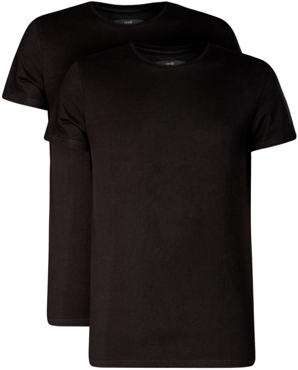 Футболка oodji Basic футболка мужская oodji basic цвет серый меланж 2 шт 5b612001t2 44135n 2300m размер xxl 58 60