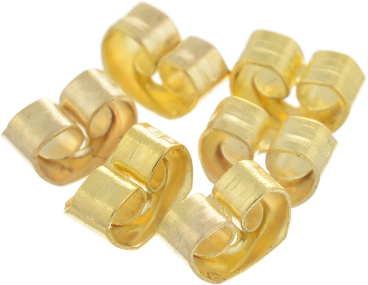 "Фиксатор для серег ""Астра"", цвет: золотистый, 6,5 х 4,5 мм, 6 шт"
