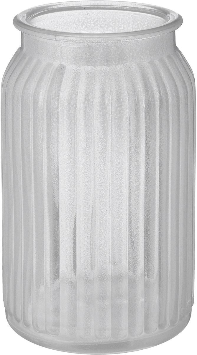 Ваза NiNaGlass Реана, цвет: серебряный, высота 19 см ваза nina glass грейси цвет оранжевый высота 19 см