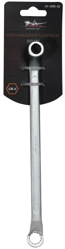 Ключ гаечный накидной Airline, с изгибом, 8 х 9 мм ключ накидной airline at drs 05 14 15 мм с изгибом