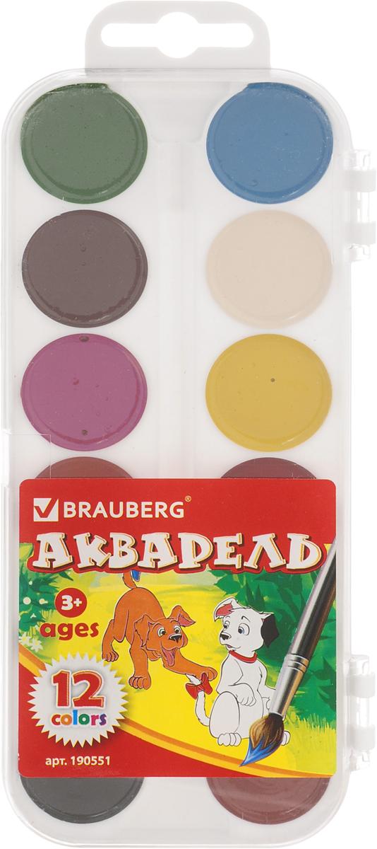 Brauberg Краски акварельные медовые 12 цветов 190551 краски акварель медовые полусухие пчелка 19 цветов 212033