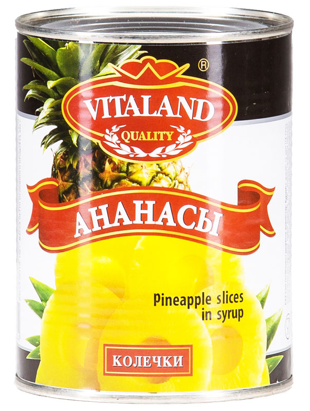 Vitaland ананасы колечки, 580 мл green ray ананасы кольцами тропические в легком сиропе 580 мл