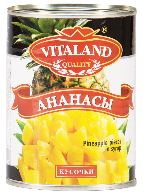 Vitaland ананасы кусочки, 580 мл green ray ананасы кольцами тропические в легком сиропе 580 мл