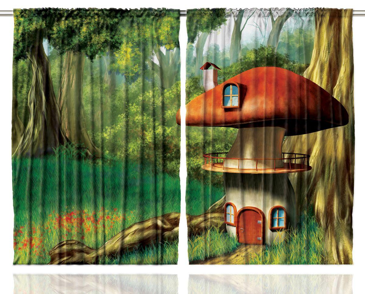 """Комплект фотоштор Magic Lady """"Домик-гриб у ствола большого дерева"""", на ленте, высота 265 см. шсг_1214"""