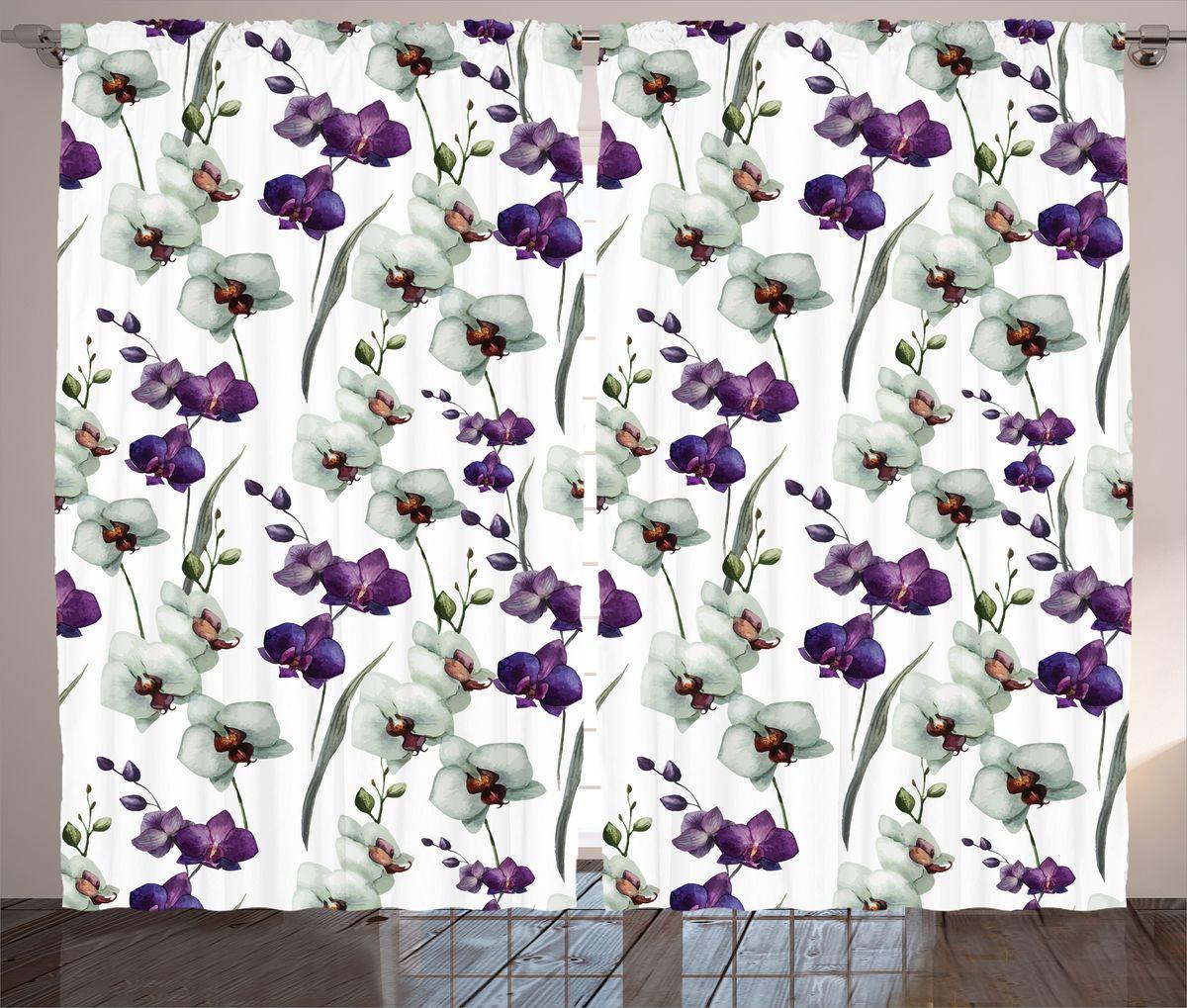 """Комплект фотоштор Magic Lady """"Акварельные орхидеи"""", на ленте, высота 265 см. шсг_13887"""