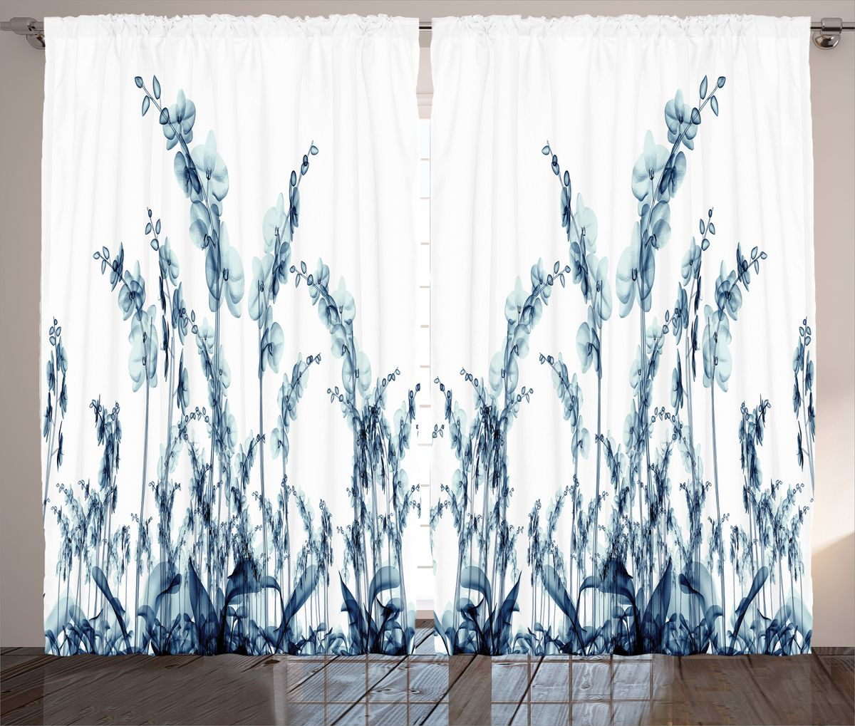 """Комплект фотоштор Magic Lady """"Орхидеи из синего стекла"""", на ленте, высота 265 см. шсг_14471"""