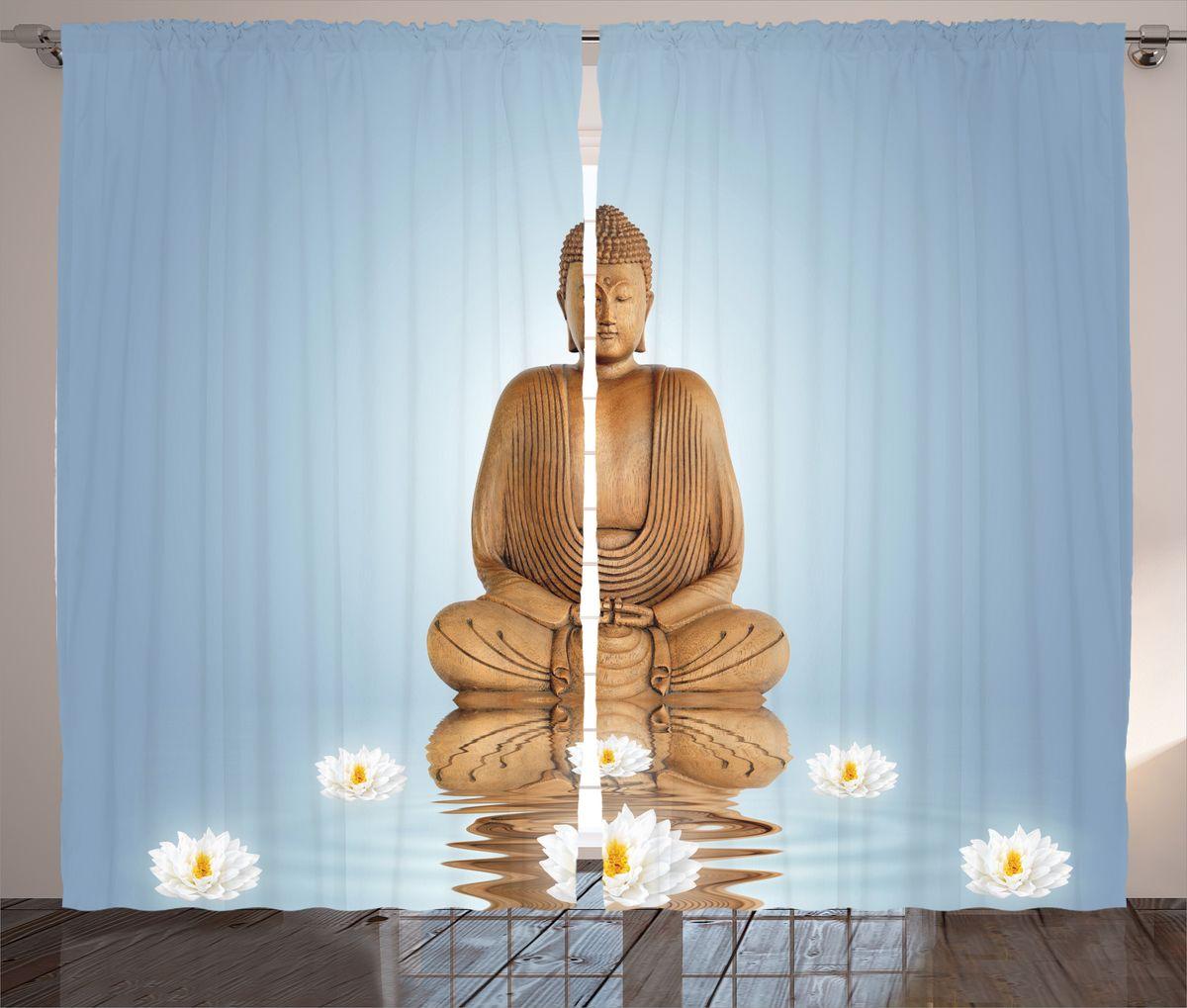 """Комплект фотоштор Magic Lady """"Деревянный Будда"""", на ленте, высота 265 см. шсг_14861"""