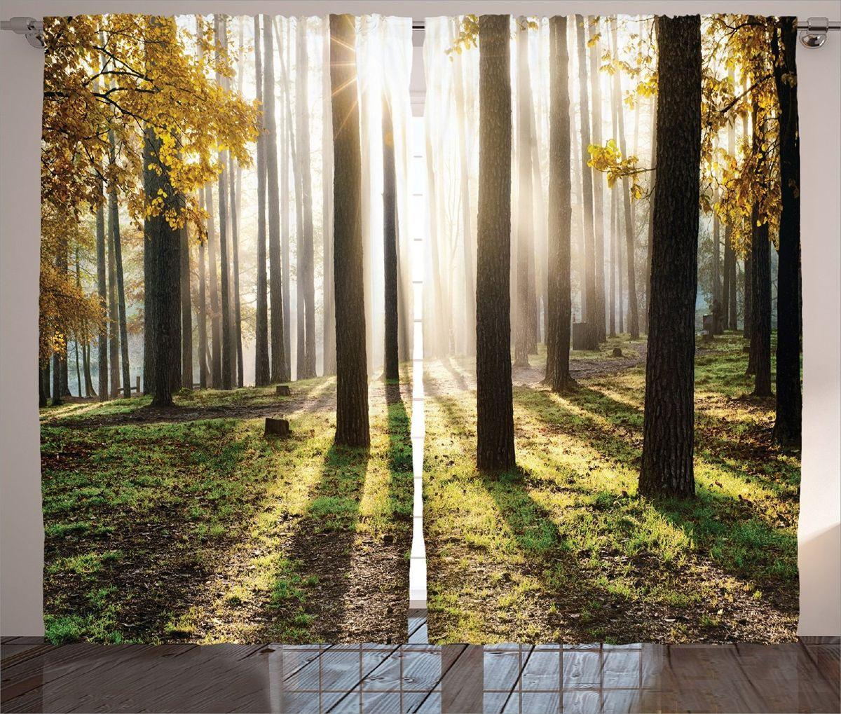 """Комплект фотоштор Magic Lady """"Солнце в осеннем лесу"""", на ленте, высота 265 см. шсг_15217"""