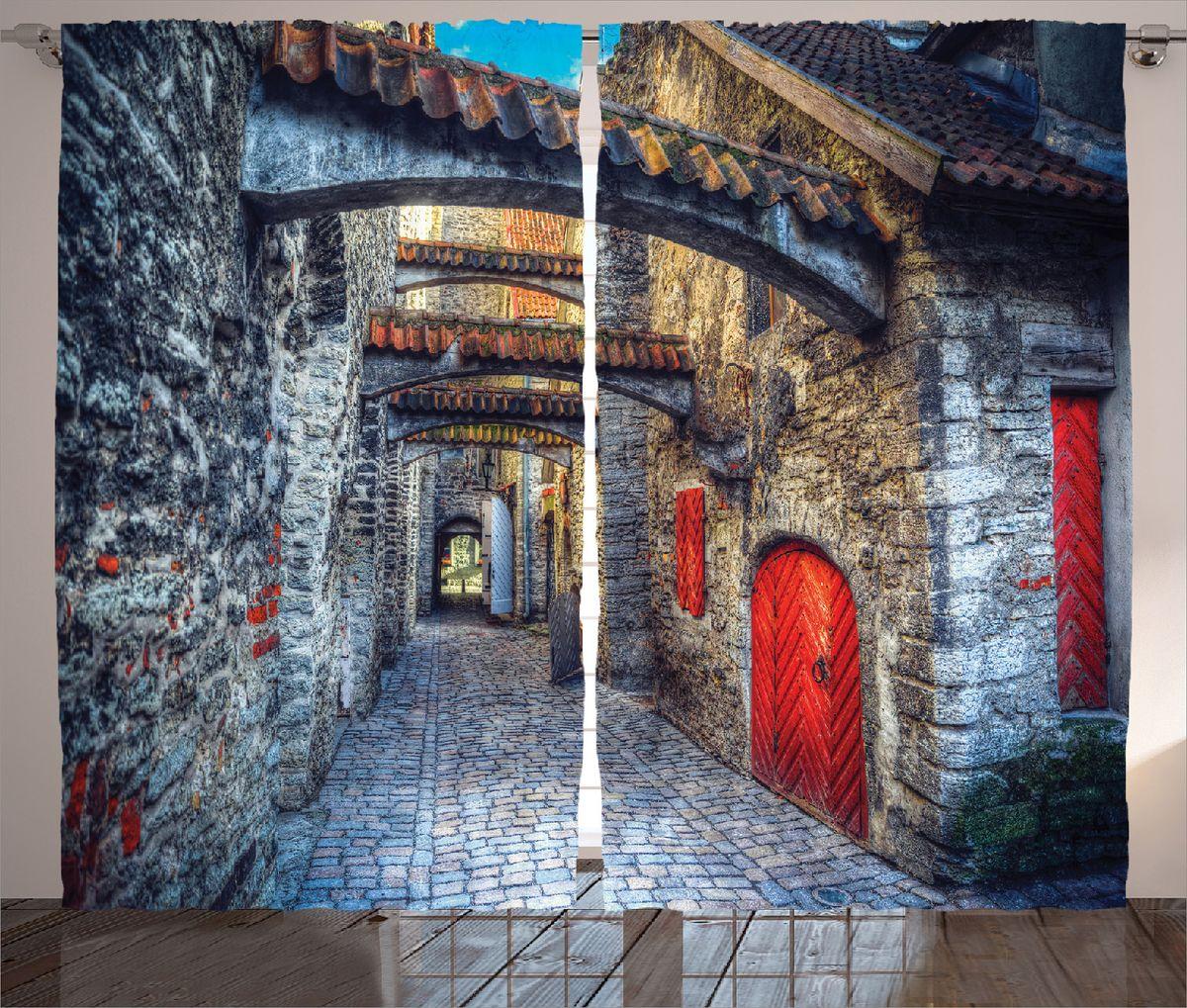 """Комплект фотоштор Magic Lady """"Красные двери"""", на ленте, высота 265 см. шсг_15390"""