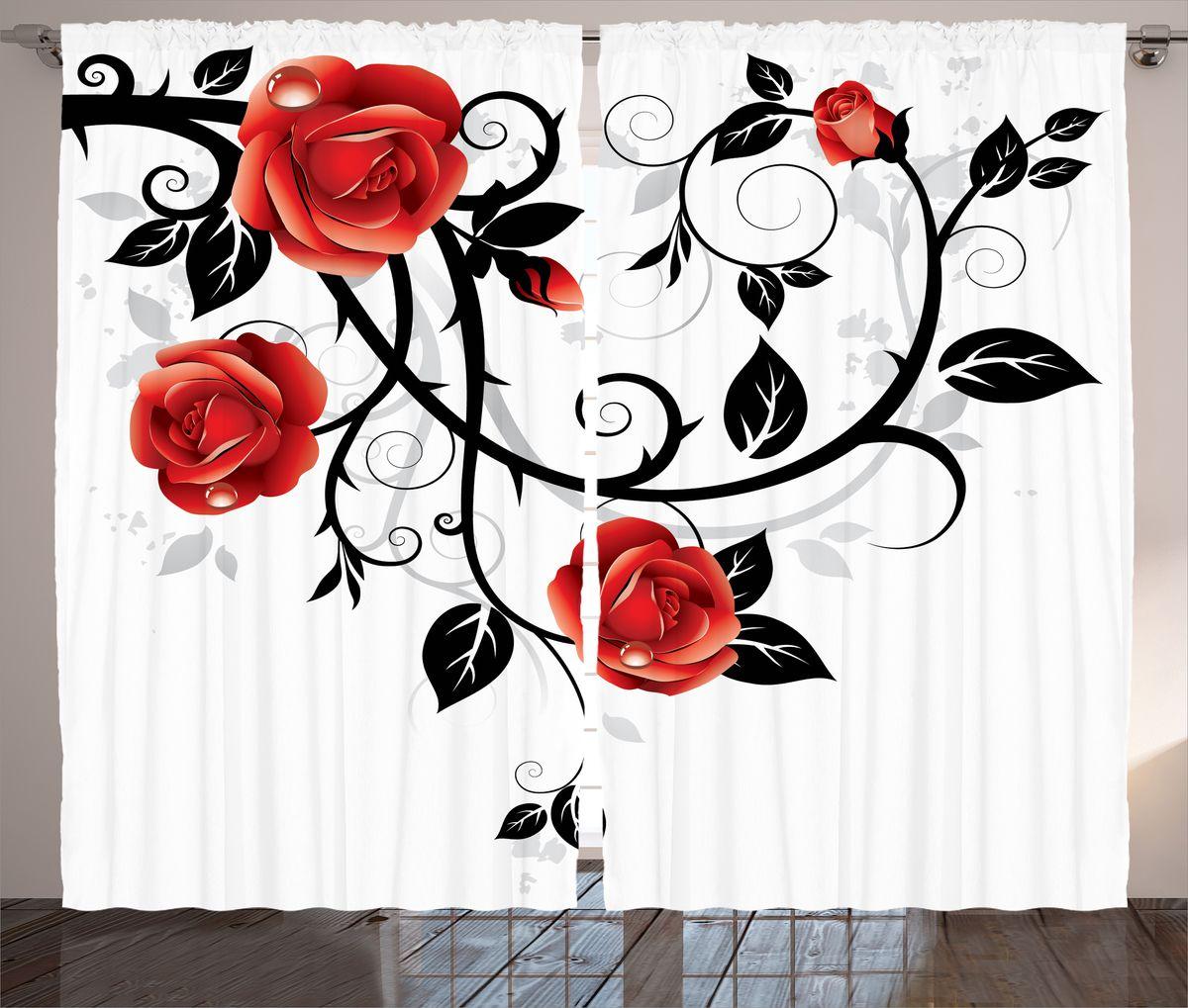 """Комплект фотоштор Magic Lady """"Алые розы в росе"""", на ленте, высота 265 см. шсг_15439"""