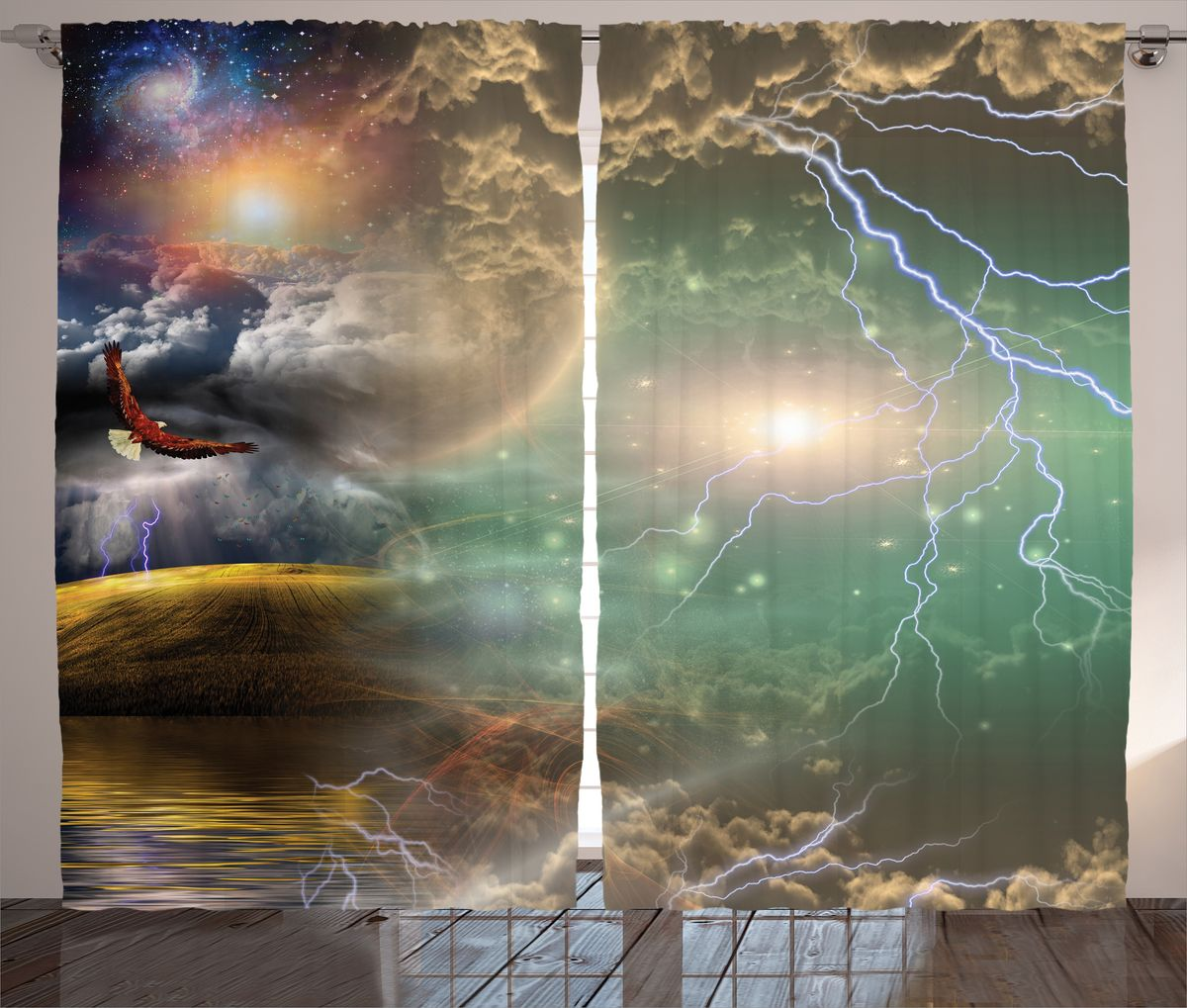 "Комплект фотоштор Magic Lady ""Орел и молнии"", на ленте, высота 265 см. шсг_15820"