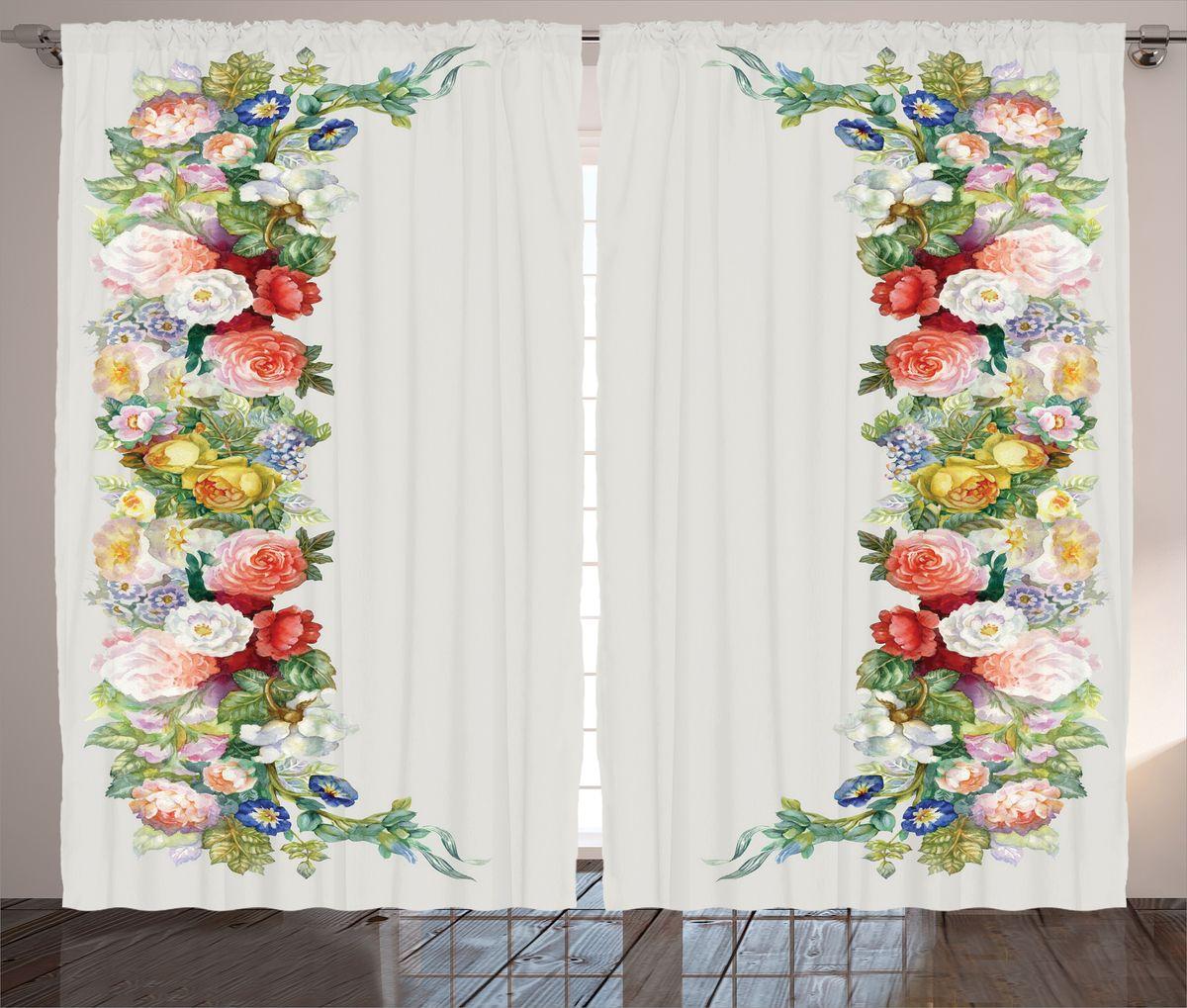 """Комплект фотоштор Magic Lady """"Шиповник, розы и вьюнки"""", на ленте, высота 265 см. шсг_15969"""