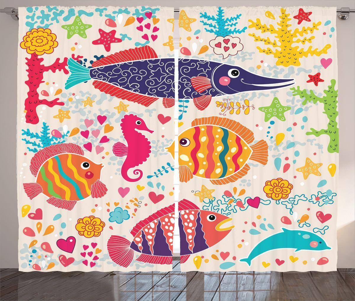 """Комплект фотоштор Magic Lady """"Влюбленные рыбки"""", на ленте, высота 265 см. шсг_17279"""
