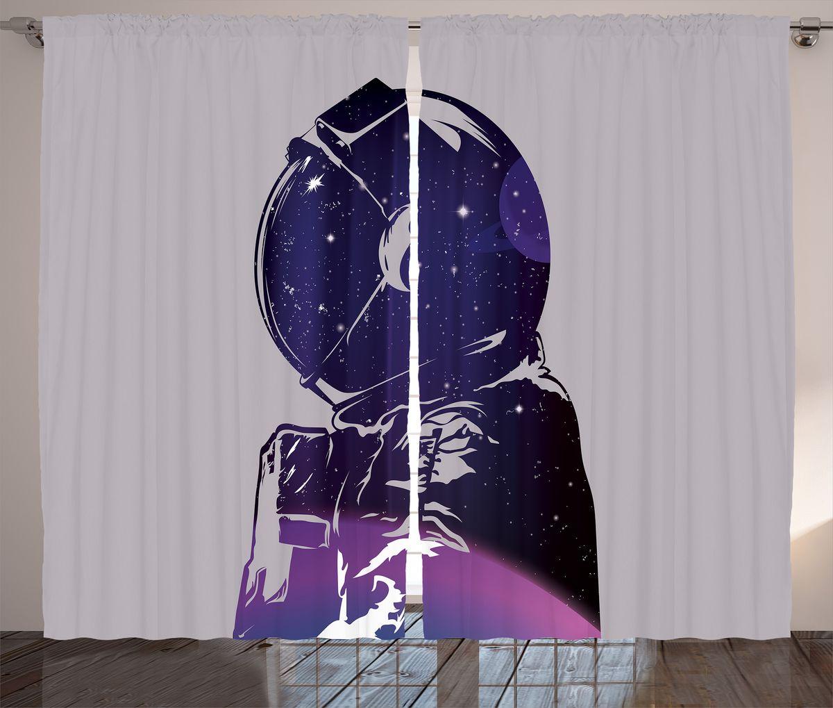 "Комплект фотоштор Magic Lady ""Силуэт космонавта с планетой и звездами"", на ленте, высота 265 см. шсг_19938"