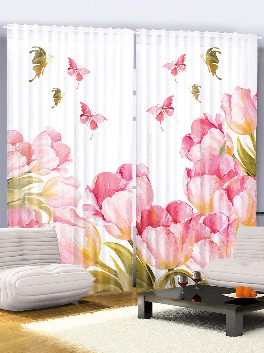 """Комплект фотоштор Magic Lady """"Бабочки над тюльпанами"""", на ленте, высота 265 см. шсг_2043"""