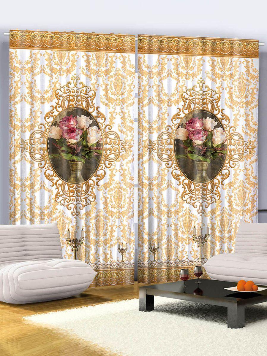 """Комплект фотоштор Magic Lady """"Розы и золотые виньетки"""", на ленте, цвет: белый, золотой, высота 265 см. шсг_2673"""