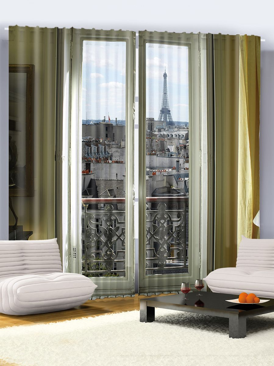 "Комплект фотоштор Magic Lady ""Окно в Париж"", на ленте, высота 265 см. шсг_6491"