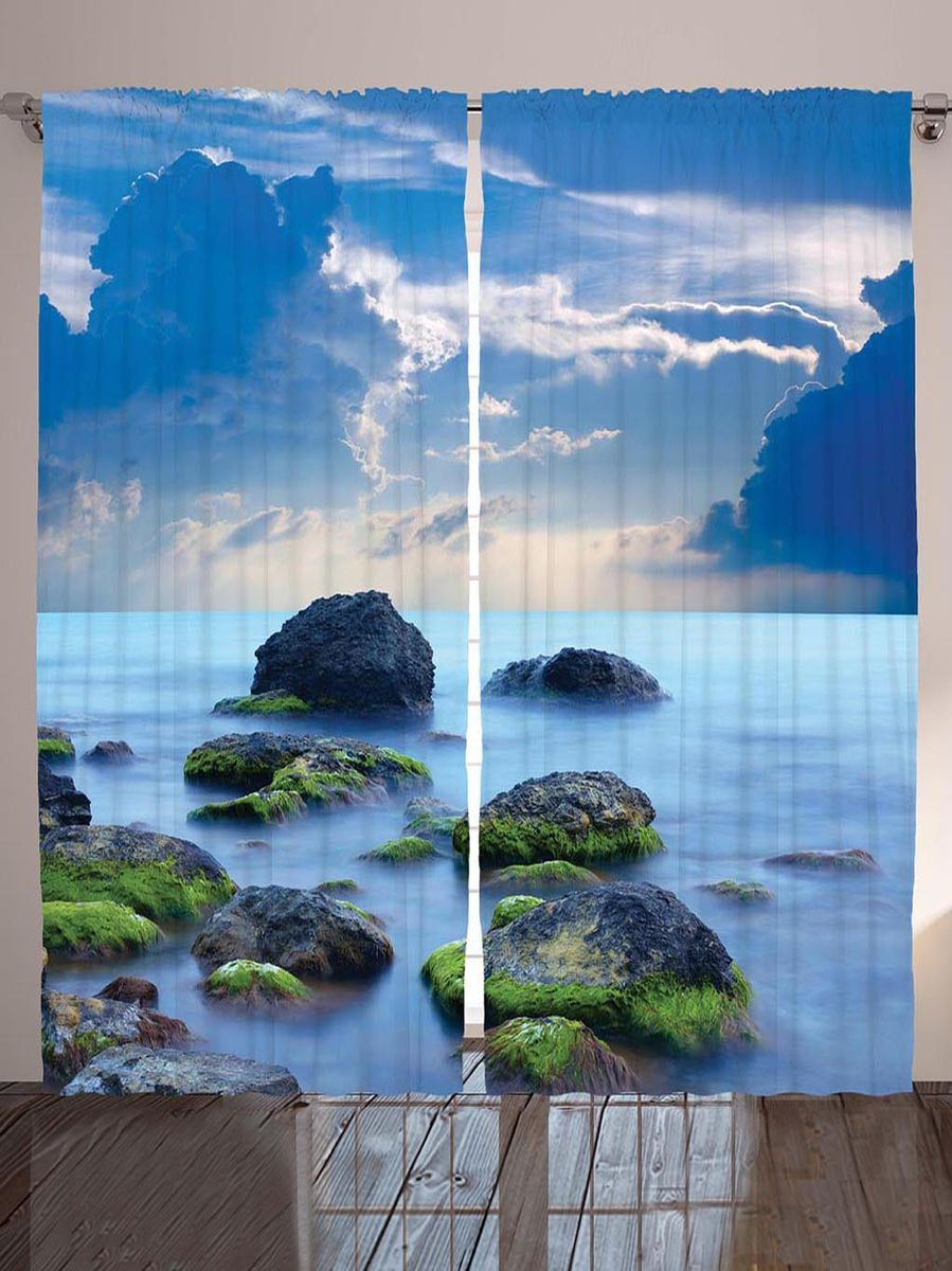 "Комплект фотоштор Magic Lady ""Замшелые камни"", на ленте, высота 265 см. шсг_8942"