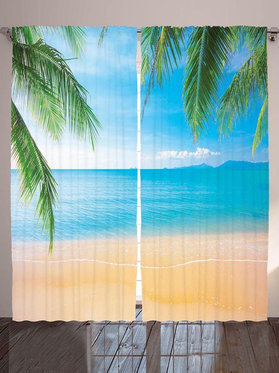 """Комплект фотоштор Magic Lady """"Пальмовые листья над берегом"""", на ленте, высота 265 см. шсг_8963"""
