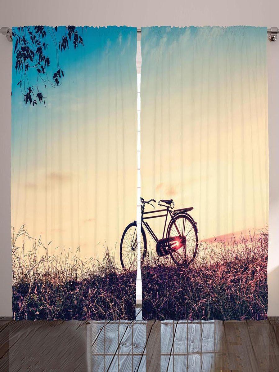 "Комплект фотоштор Magic Lady ""Прогулка на велосипеде по августовскому лугу на закате дня"", на ленте, высота 265 см. шсг_8983"
