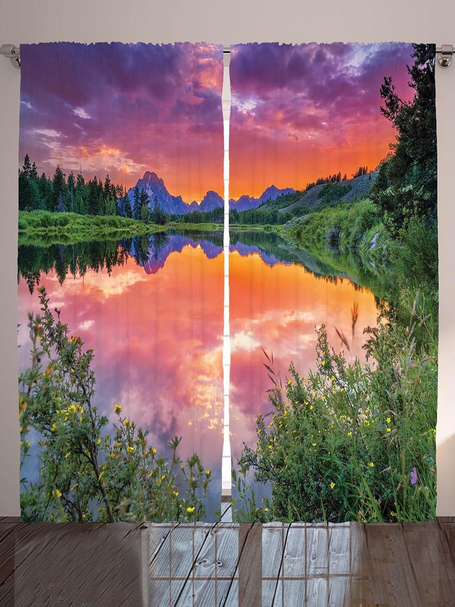 "Комплект фотоштор Magic Lady ""Пурпурный закат над водой"", на ленте, высота 265 см. шсг_8990"