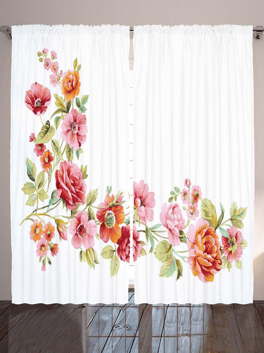 Комплект фотоштор Magic Lady Акварельные цветы, на ленте, высота 265 см. шсг_9118 шторы для кухни drdeco шторы акварельные цветы дизайн 5
