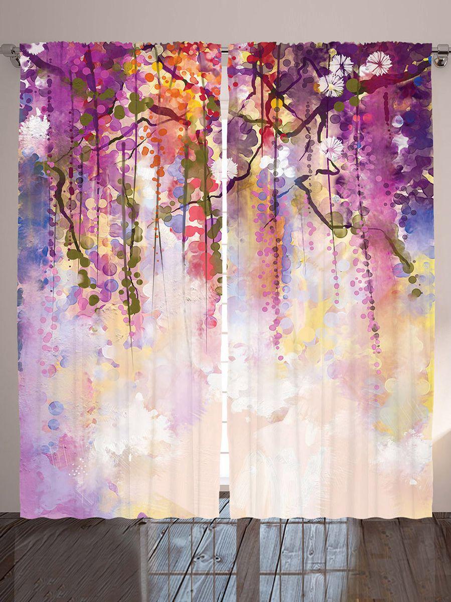 """Комплект фотоштор Magic Lady """"Лиловые лианы"""", на ленте, высота 265 см. шсг_9134"""