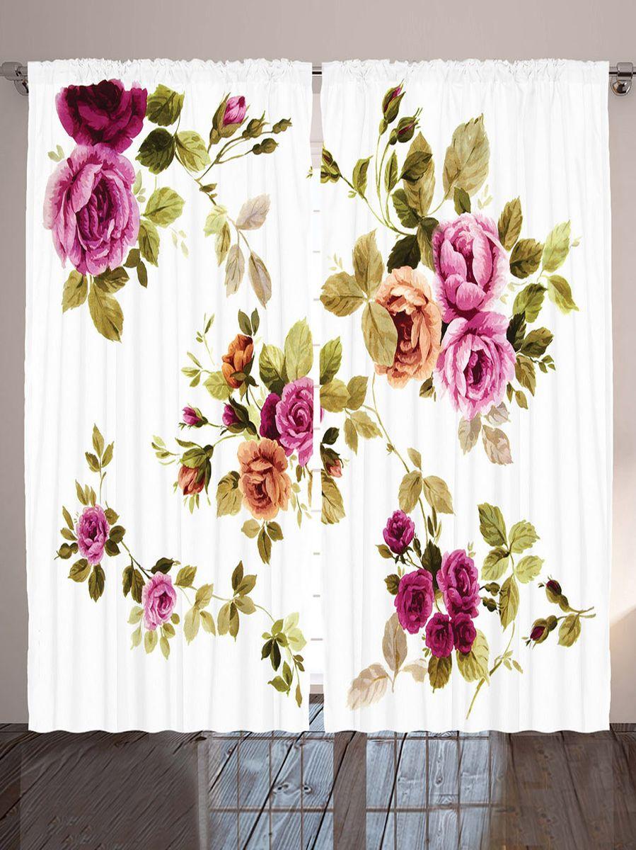 """Комплект фотоштор Magic Lady """"Акварельные розы"""", на ленте, высота 265 см. шсг_9138"""