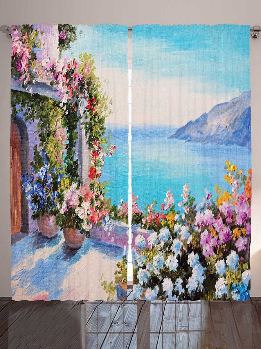 "Комплект фотоштор Magic Lady ""Цветы на веранде"", на ленте, высота 265 см. шсг_9176"