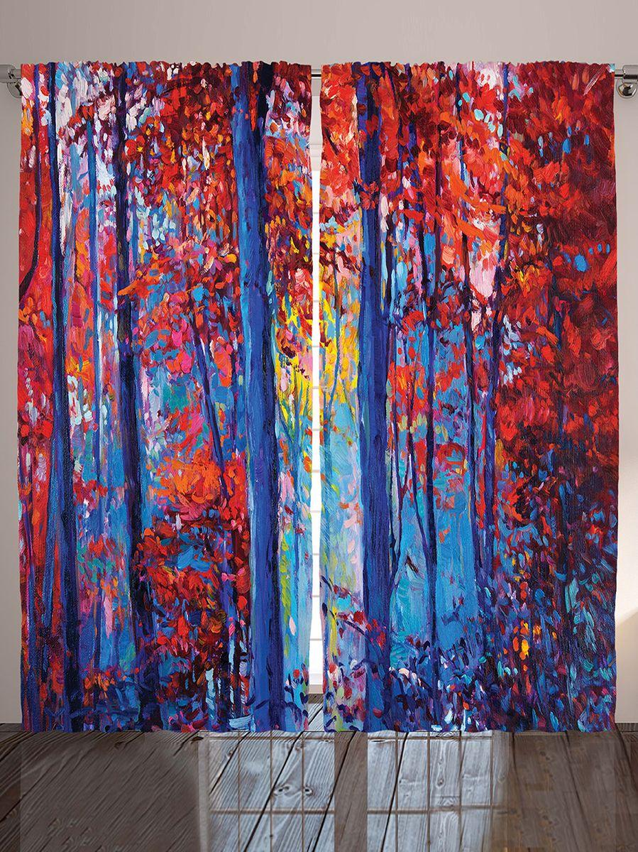 """Комплект фотоштор Magic Lady """"Вечер в осеннем лесу"""", на ленте, высота 265 см. шсг_9253"""