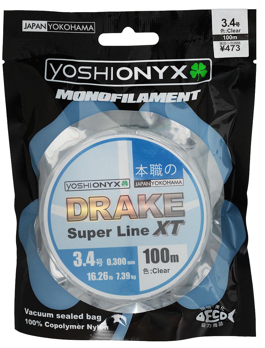 Леска Yoshi Onyx Drake Super Line XT, цвет: прозрачный, 100 м, 0,3 мм, 7,39 кг леска yoshi onyx drake fluoro цвет прозрачный 100 м 0 21 мм 3 08 кг