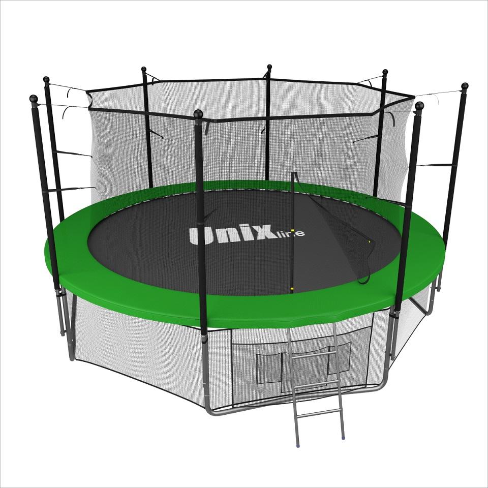 Батут Unix 12 ft inside (green) TRU12INGR13099Батуты UNIX line разработаны для ежедневного использования детьми и взрослыми, устойчивы к неблагоприятным погодным условиям и соответствуют международным стандартам качества ISO 9001. Металлический каркас батутов выполнен из особо прочной гальванизированной стали с использованием новейшей системы креплений деталей рамы батута «T-Conneсtor» (толщина стали 2.2 мм), что обеспечивает высокую надежность рамы и уровень безопасности пользователя, максимально допустимый вес которого, в зависимости от модели (размера), может достигать 160 кг. Гарантия на раму 2 года!!! Прыжковое полотно батутов UNIX line обладает повышенной износостойкостью благодаря высокой плотности волокон полипропилена (перматрон), из которых состоит само полотно. Защитный мат для пружин, расположенный по периметру батута, состоит из четырех слоев, обшитых ПВХ материалом, плотностью 130 г/см3 и надежно закрывает пружины. Помимо верхней защитной сетки, все батуты модельного ряда UNIX line оборудованы нижней защитной сеткой, которая препятствует проникновению под прыжковое полотно батута детей, животных, а так же попаданию посторонних предметов, и лестницей для удобства пользования. А в моделях диаметром от 10FT (305см.), в комплект входят специальные крепления батута к земле (колышки). Технические характеристики: Цвет: Зеленый Диаметр батута: 3,66 м Пружины: 72 шт Кол-во ног (опор): 4 W-ноги Высота защитной сети: 1800 см Дополнительные фиксаторы, защита от ветра 4 шт. Диаметр труб: 1,50 мм Система крепления рамы и...