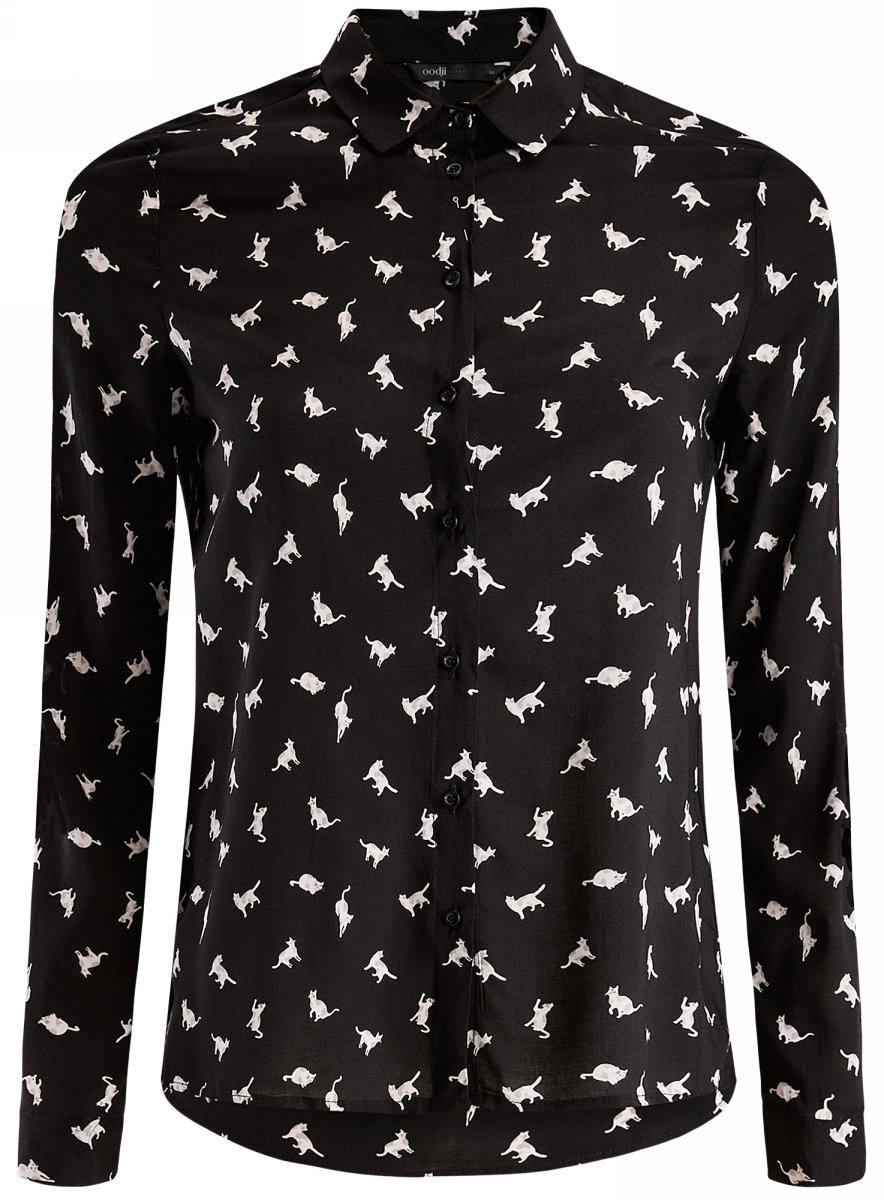 Рубашка oodji Ultra рубашка прямая с принтом и длинными рукавами