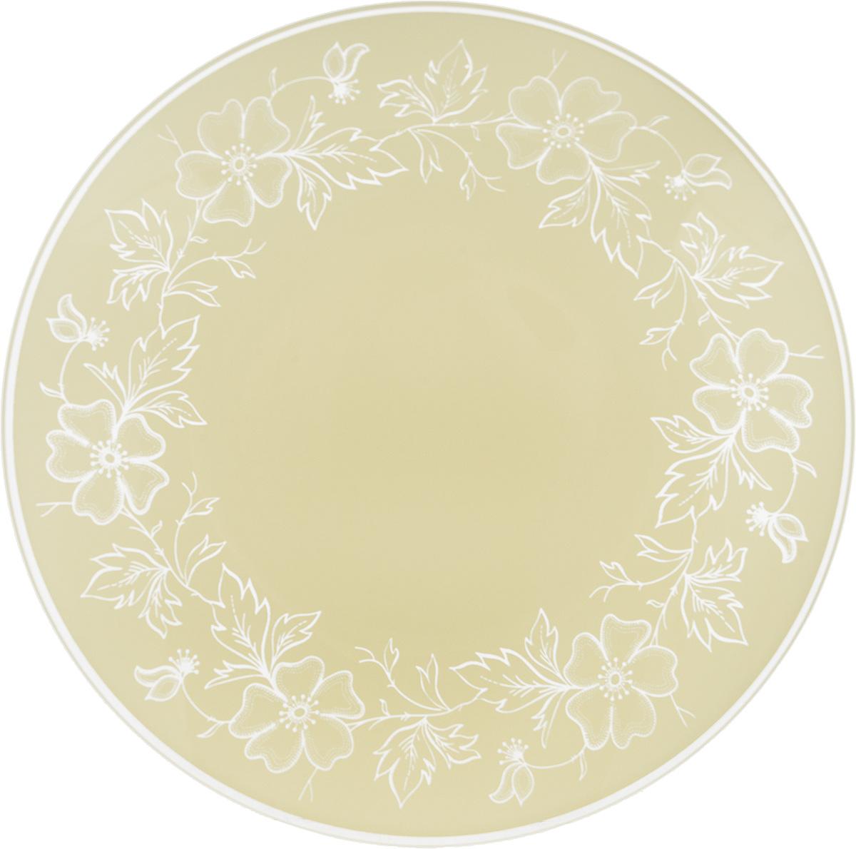 "Тарелка NiNaGlass ""Лара"", цвет: светло-бежевый, диаметр 20 см"