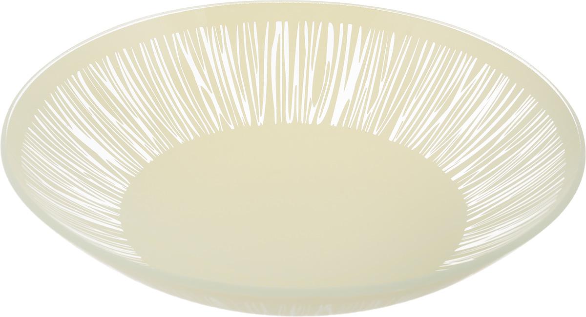 "Тарелка глубокая NiNaGlass ""Витас"", цвет: светло-бежевый, диаметр 22 см"