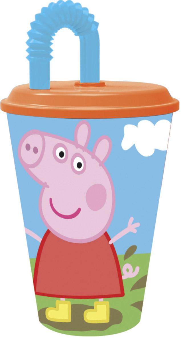 Peppa Pig Стакан детский с трубочкой Пеппа на полянке 450 мл disney стакан детский минни с крышкой и витой трубочкой 330 мл